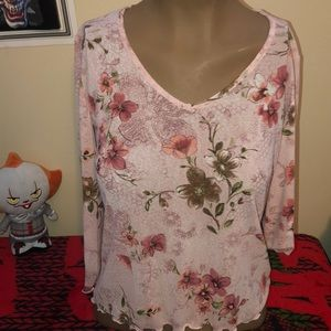 Tops - Floral pink dress top size small 100% polyester